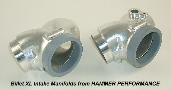 Billet Intake Manifolds to Use a Mikuni HSR45 or CV44 Carburetor on Harley Davidson XL Sportster Models